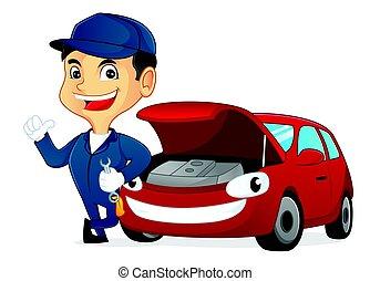 wóz, nachylenie, szarpnąć, mechanik, dzierżawa