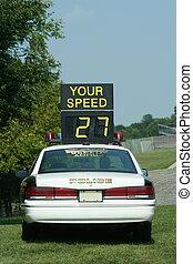 wóz, policja, czek, szybkość