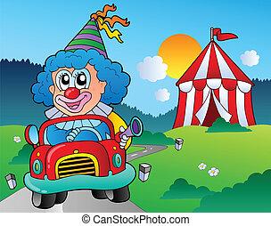 wóz, rysunek, klown, namiot