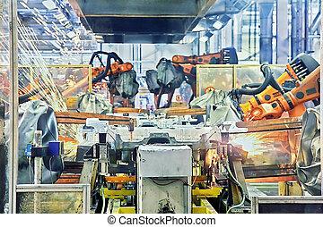 wóz, spawalniczy, fabryka, roboty