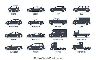 wóz, sylwetka, wektor, automobile., ciało, obiekty, komplet, shadow., odizolowany, czarnoskóry, typ, białe tło, ikony, sieć, ilustracja, warianty, wzór