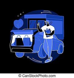 wóz, twój, wektor, pojęcie, zaopatruje, bez, zdobywać, abstrakcyjny, odejście, illustration.