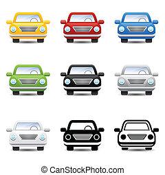 wóz, wektor, ikony