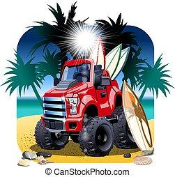 wóz, wektor, odizolowany, rysunek, 4x4, plaża