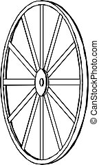 wóz, wheel., illustration., wektor