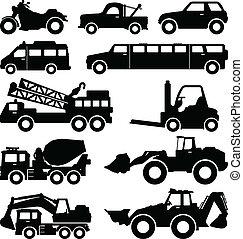 wózek, awangarda, ciężarówka, ekskawator, limuzyna