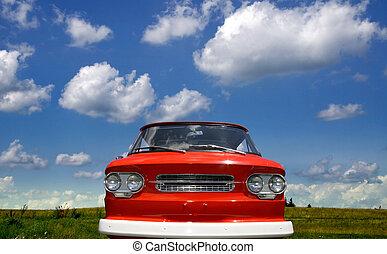 wózek, czerwony, klasyk