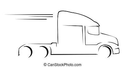 wózek, ilustracja, symbol, wektor