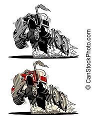 wózek, pół, rysunek