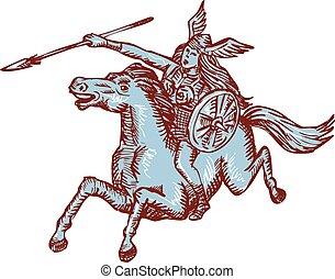włócznia, valkyrie, jeżdżenie, akwaforta, wojownik, koń