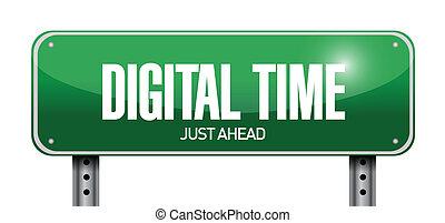 właśnie, na przodzie, czas, ilustracja, znak, projektować, cyfrowy