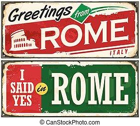 włochy, metal, idea, rzym, retro, tło, stary, rozplakatować kartę