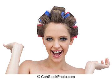 włos curlers, przedstawianie, radosny, wzór