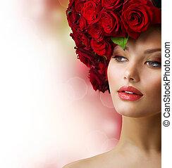 włosiany fason, wzór, róże, portret, czerwony