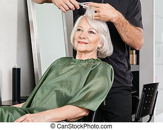 włosiany salon, cięty, posiadanie, kobieta