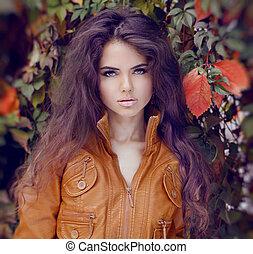 włosiany styl, kobieta, makeup., jesień, girl., fason, style.