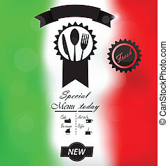 włoski, menu, afisz