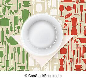 włoski, menu, restauracja, afisz