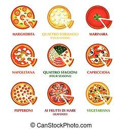 włoski, pizza, ikony