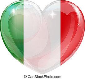 włoski, romansowe serce, bandera