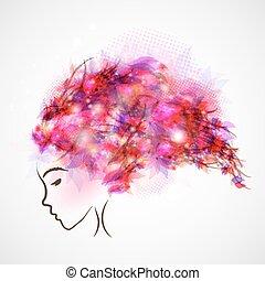 włosy, abstrakcyjny, kobieta, sylwetka