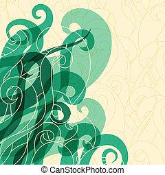 włosy, abstrakcyjny, zwija, waves., tło