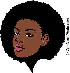 włosy, amerykańska kobieta, afro