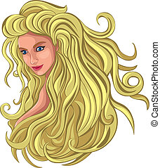 włosy, blond, długi