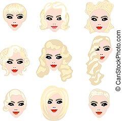 włosy, blond, tytułowanie, komplet