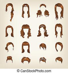 włosy, brązowy, komplet, samica