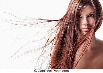 włosy, dziewczyna, długi