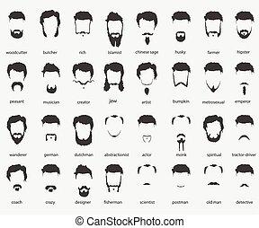 włosy, faiths, różny, brody