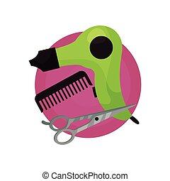włosy, fryzjer, suszarka, ilustracja, symbolika, wektor, grzebień, nożyce, ikona, barbershop, rysunek