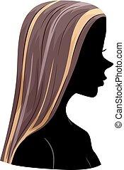 włosy, główne punkty, dziewczyna, sylwetka, ilustracja