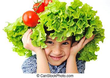 włosy, głowa, fałszować, pomidor, warzywa, kapelusz, sałata, jego, robiony, koźlę