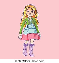 włosy, ilustracja, blond, lalka