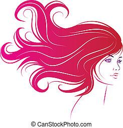 włosy, kobieta, czarnoskóry, długa twarz