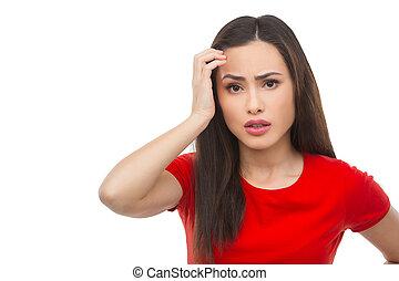 włosy, kobieta, jej, przygnębiony, odizolowany, młode przeglądnięcie, znowu, aparat fotograficzny, dzierżawa, woman., ręka, udaremniony, biały