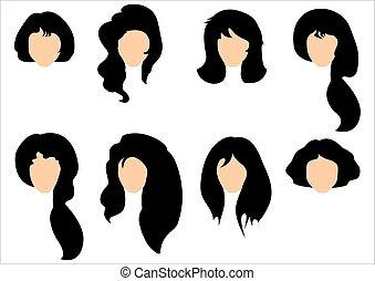 włosy, kobieta, komplet, czarnoskóry, tytułowanie