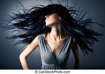 włosy, kobieta, trzepotliwy