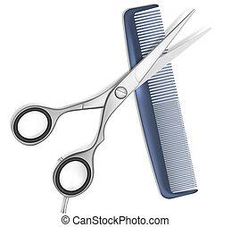 włosy, nożyce, grzebień