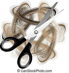 włosy, nożycowy
