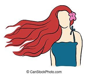 włosy, piękny, dziewczyna