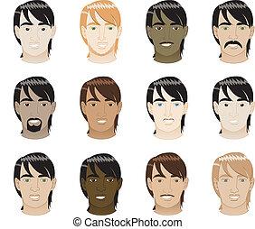 włosy, prosty, twarze mężczyzn
