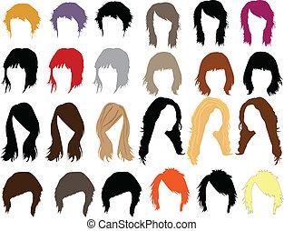 włosy, strój, -