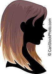 włosy, sylwetka, dziewczyna, ombre, ilustracja