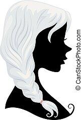 włosy, szary, dziewczyna, sylwetka, ilustracja