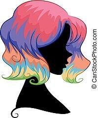 włosy, tęcza, dziewczyna, sylwetka, ilustracja