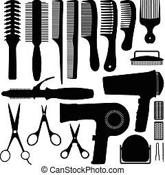 włosy, wektor, sylwetka, przybory