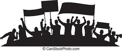 wściekły, ludzie, losy, protestując